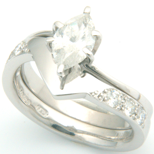 18ct White Gold Diamond Set Fitted Wedding Ring to Marquise Cut Diamond Ring.jpg