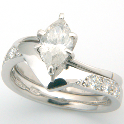 18ct White Gold Diamond Set Fitted Wedding Ring to Marquise Cut Diamond Ring 1.jpg