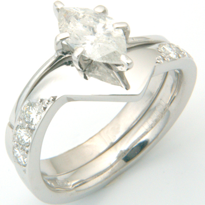 18ct White Gold Diamond Set Fitted Wedding Ring to Marquise Cut Diamond Ring 3.jpg