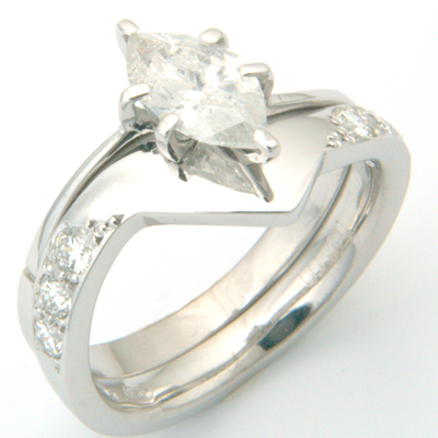 18ct White Gold Diamond Set Fitted Wedding Ring to Marquise Cut Diamond Ring 4.jpg