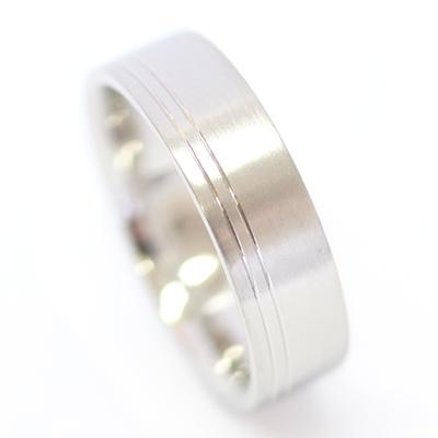 Platinum Flat Court Gents Wedding Ring with Diamond Cut Lines 3.jpg