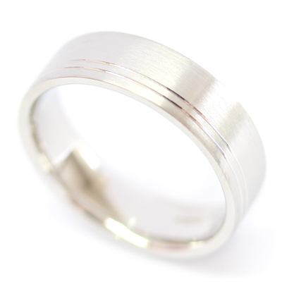 Platinum Flat Court Gents Wedding Ring with Diamond Cut Lines 4.jpg