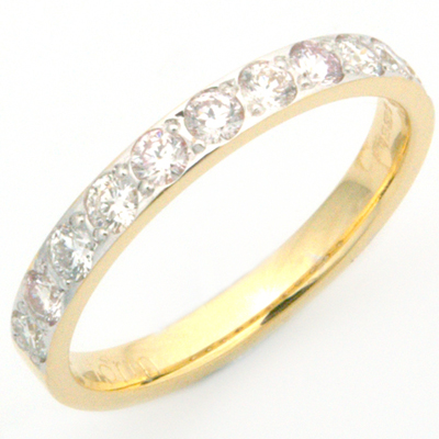 18ct Yellow and White Gold 11 Diamonds Eternity Ring 1.jpg