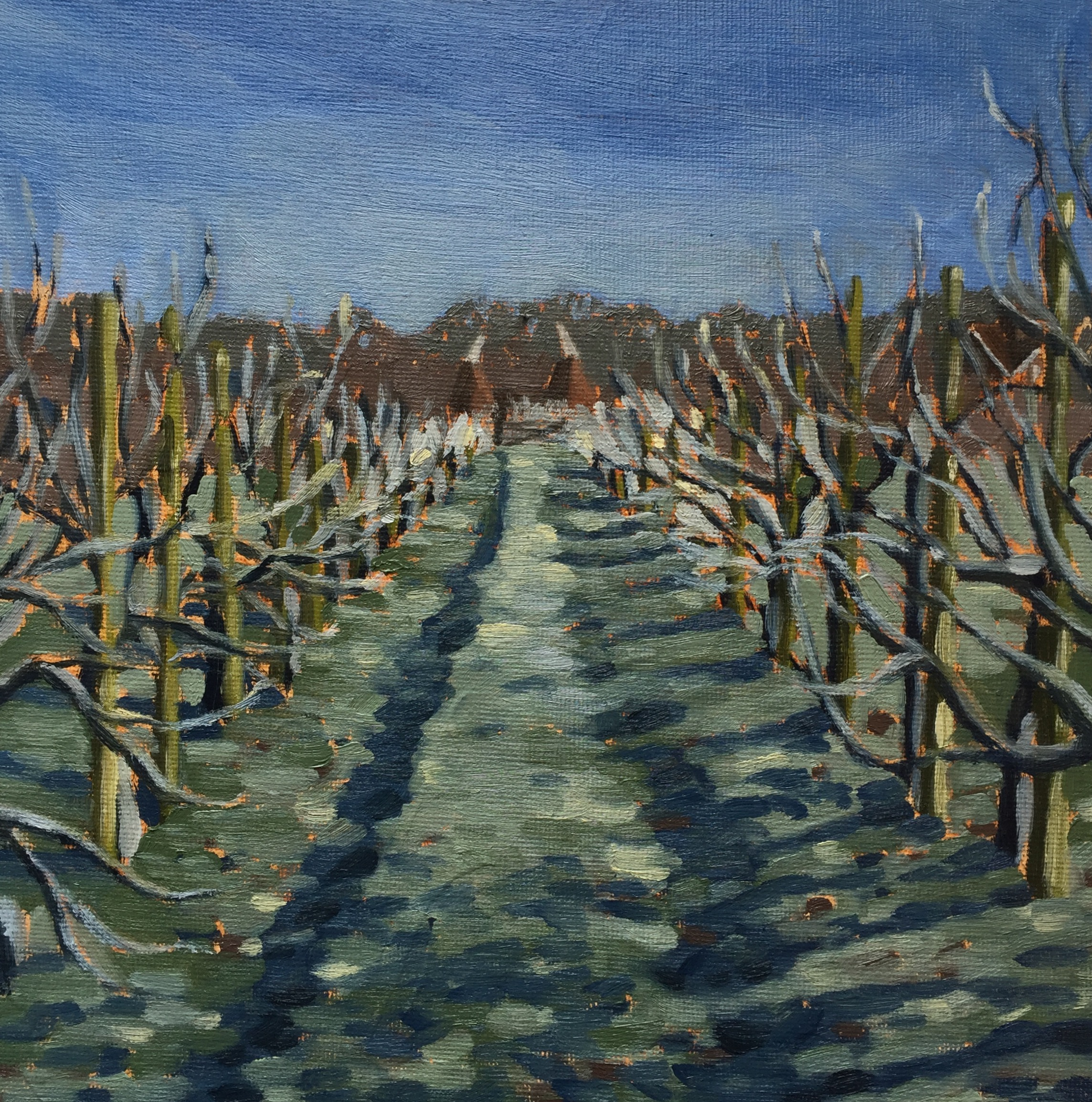 Orchards and Oast- Daily painting project (oils) 20x20cm .jpg