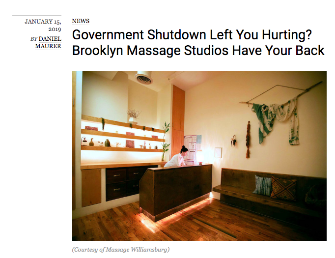 Community Support - We provided free massages for a week during the government shutdown to furloughed workers.