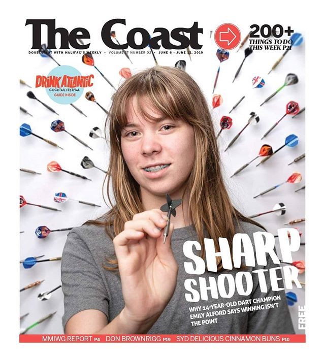 Cover for @thecoasthalifax a month back 📰 for Caora McKenna's story on Emily Alford, slide for some BTS of target practice, a 8x4' piece of foam-core I somehow fit in the car, and a lighting test featuring the ol' man in his workshop/makeshift studio.