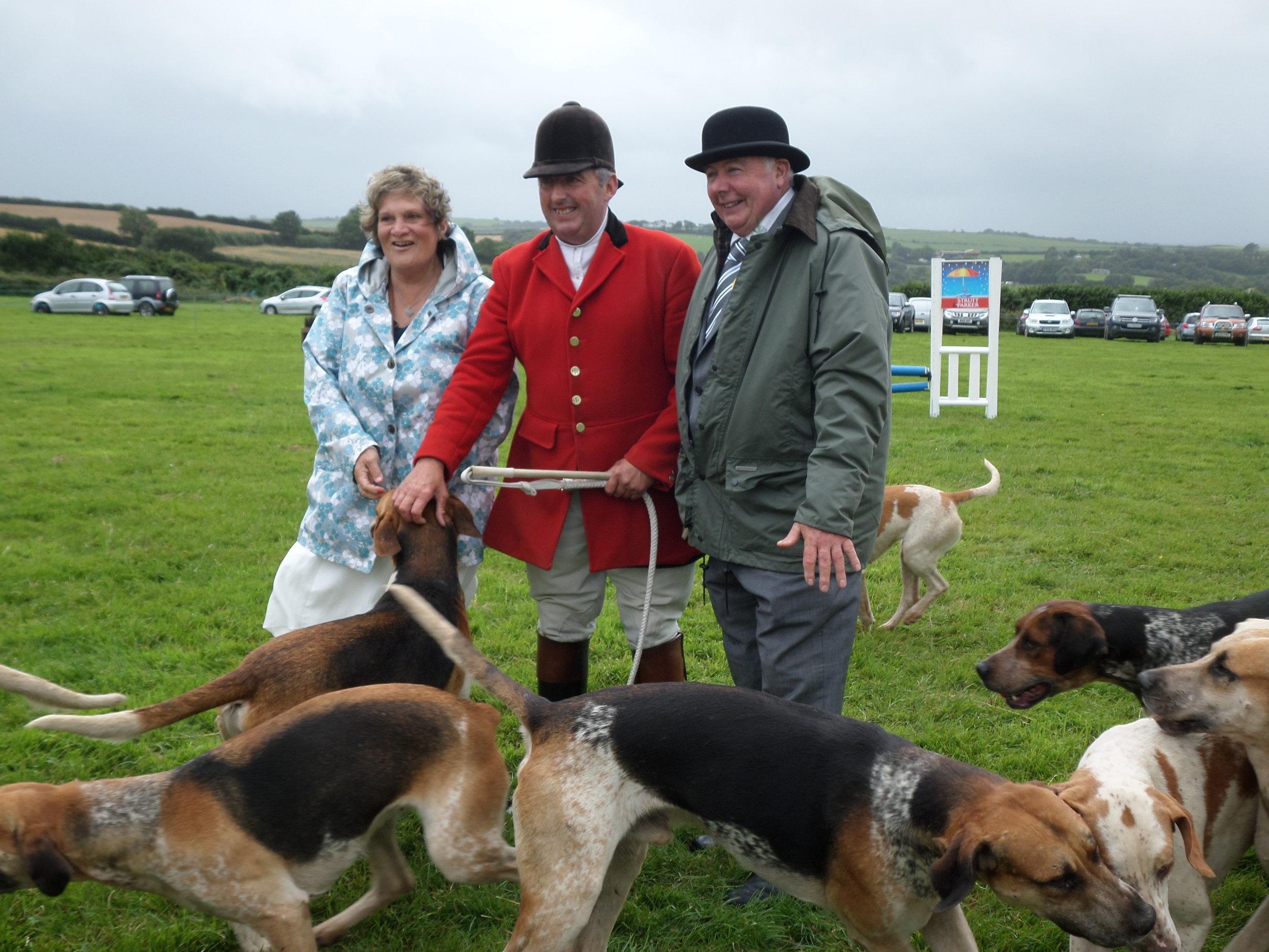 President Derek Banbury with wife Linda and Paul Martin of South Tetcott Hunt