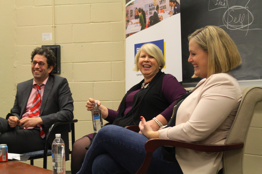 Left to right: Karim Bardeesy, Deb Matthews, MPP for London North Centre and Former Deputy Premier of Ontario, and Paris Semansky, Chief of Staff to the Minister of Advanced Education and Skills Development, February 2018.