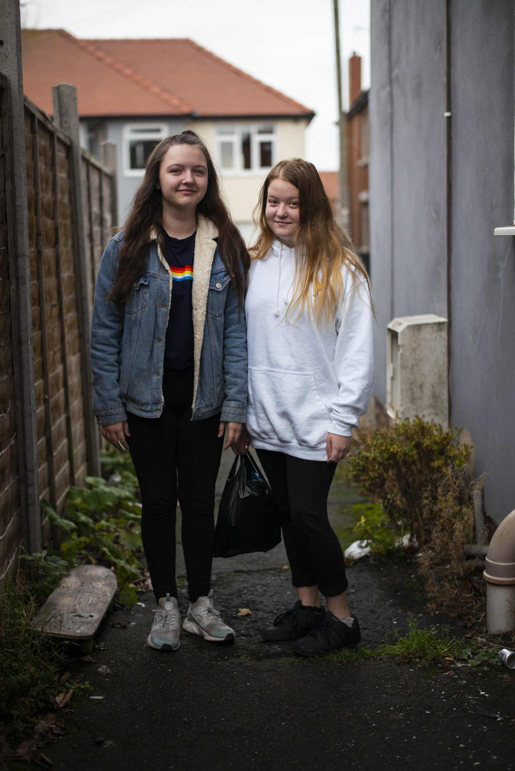 "Kayleigh and Millie (Rose's daughter) outside the flat.      ""They tell you this is going to happen, then a week later they change it and tell you something else is happening. They've just given me council tax benefits. It's taken two and a half years to realise I was allowed it even though I kept saying it…"""