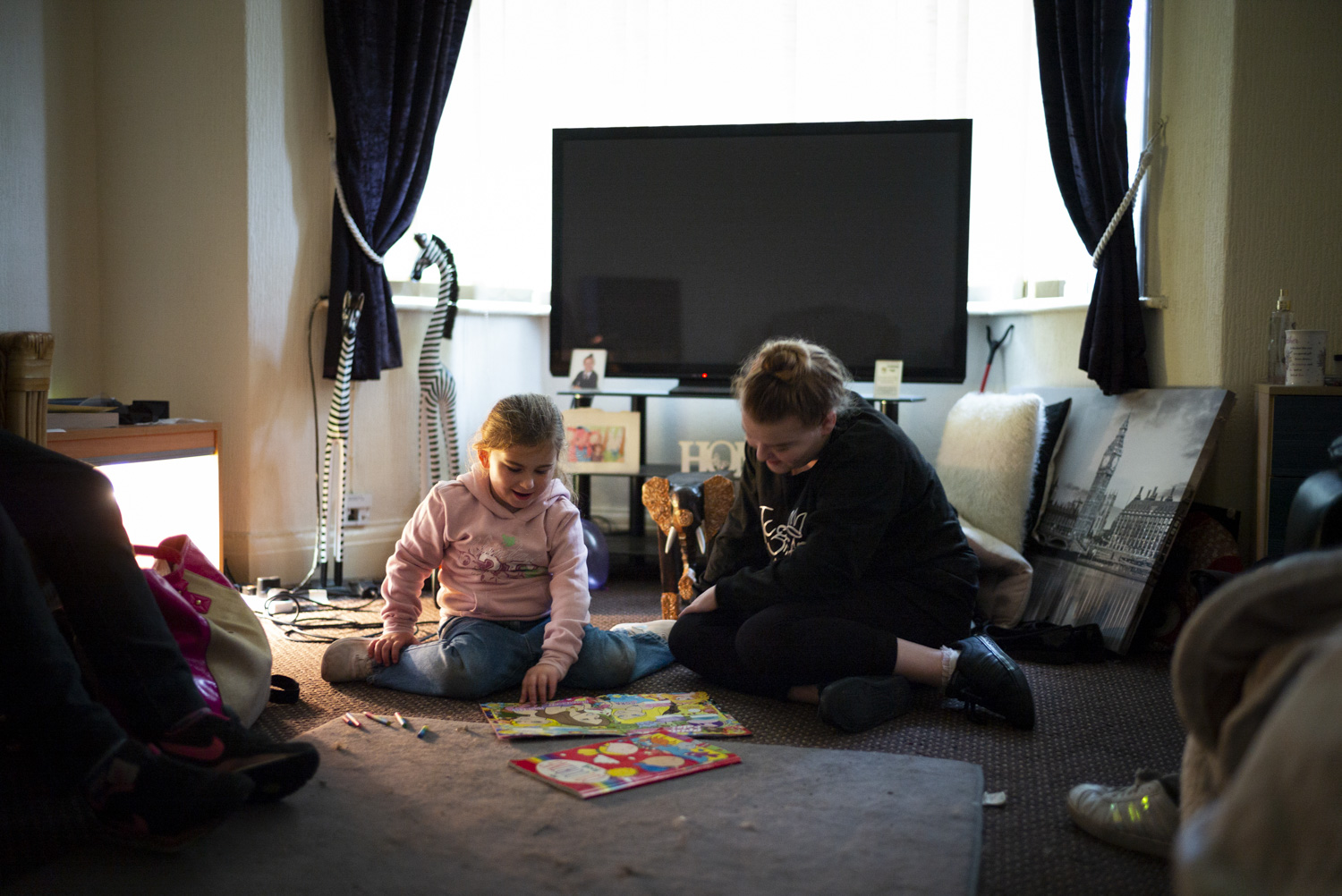 """Kayleigh and Ellie-May playing at Rose's house.      """"I was put on a tag, which wasn't very good. I had to be home at, like, 8 o'clock every night. And Millie still doesn't go to school, but they don't understand that…"""""""