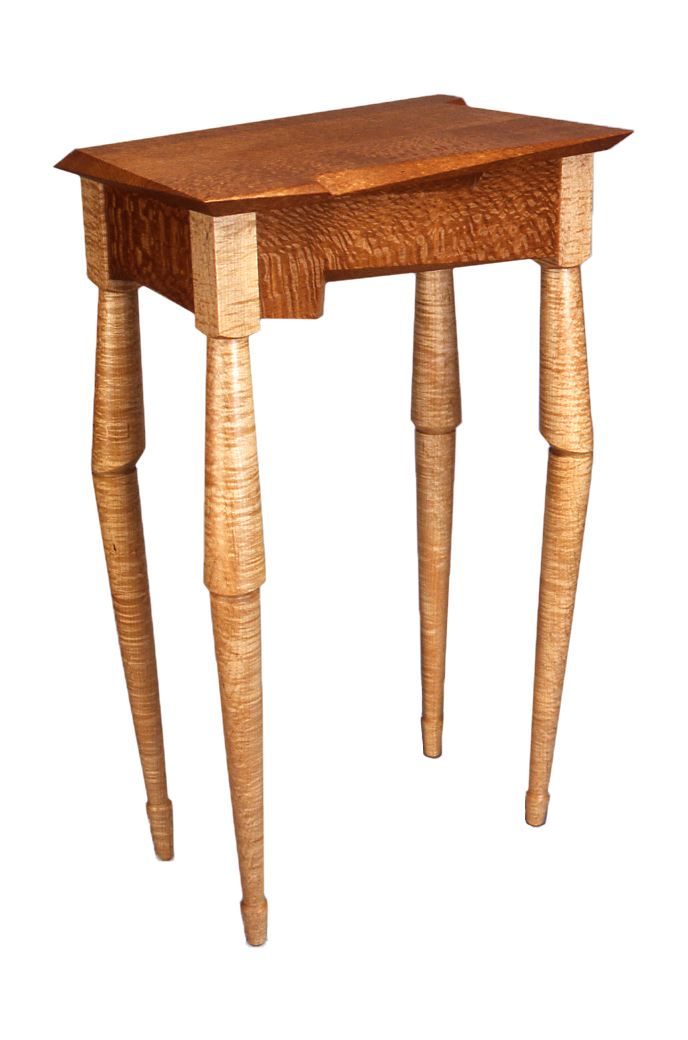 Horn Spider Table, 1993, Lacewood and Figured Maple