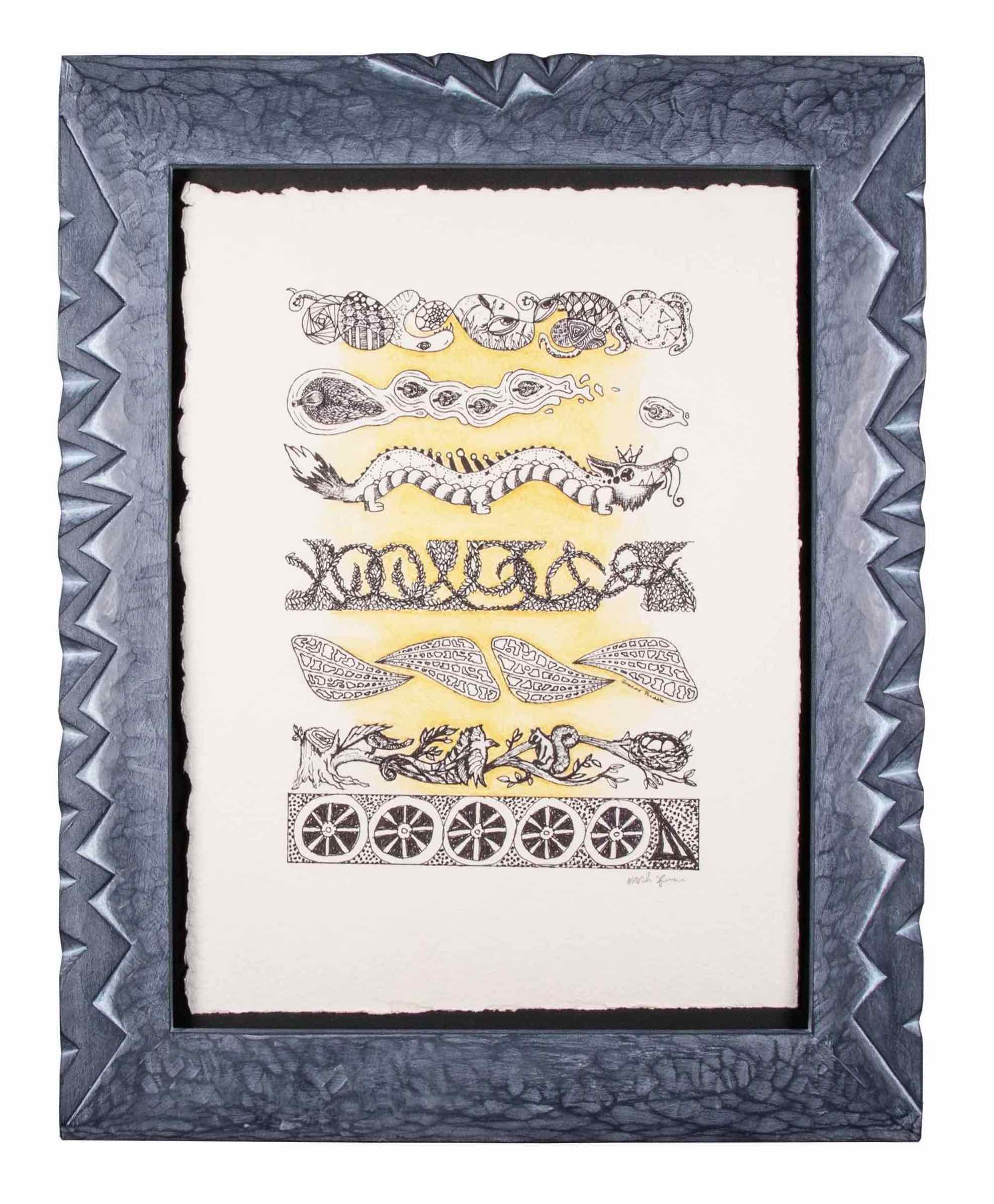 Echo Lake 2017- Blind Collaboration Drawing-   Frame carved by Mark Sfirri