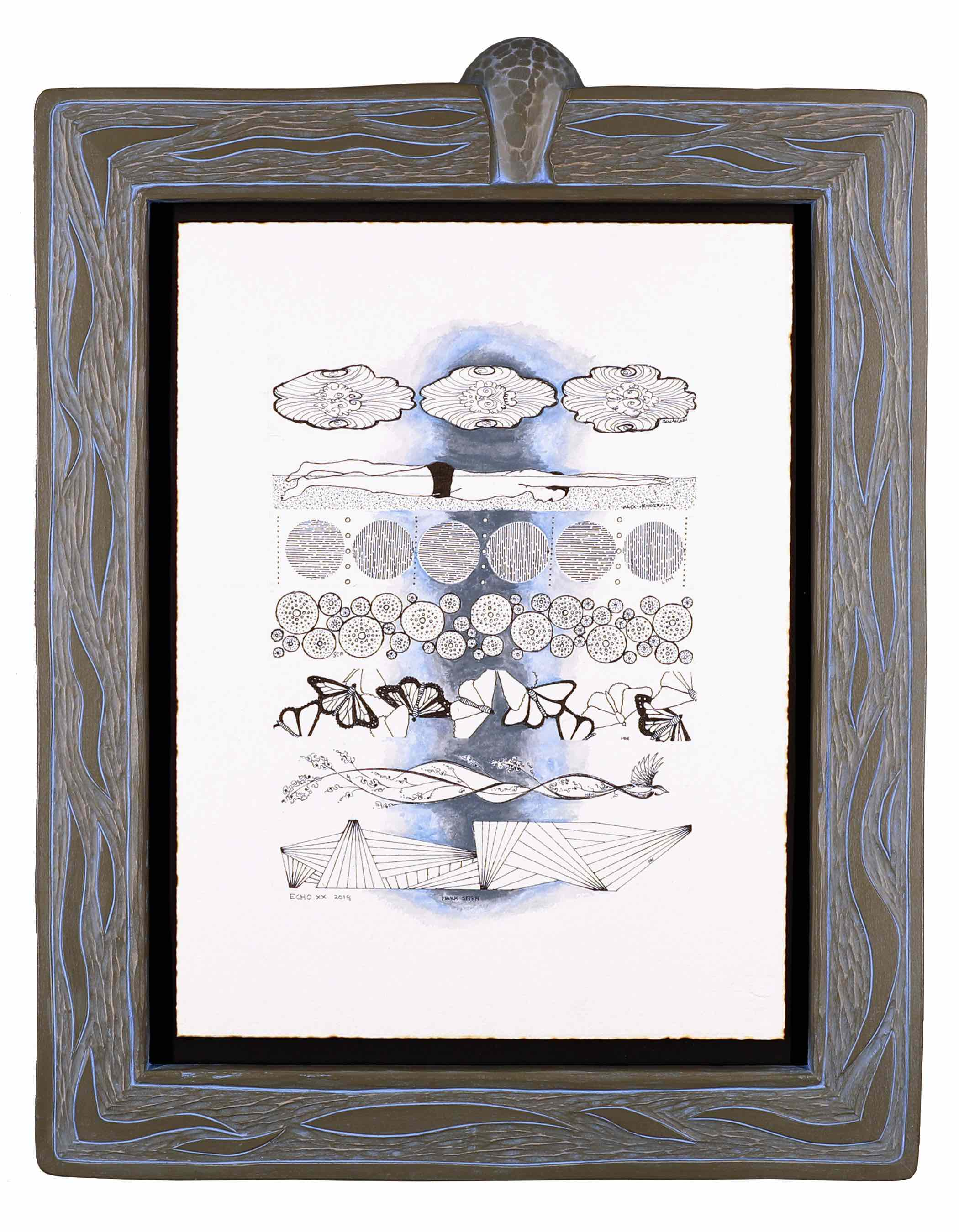 Echo Lake- Blind Collaboration Drawing  Frame carved by Mark Sfirri