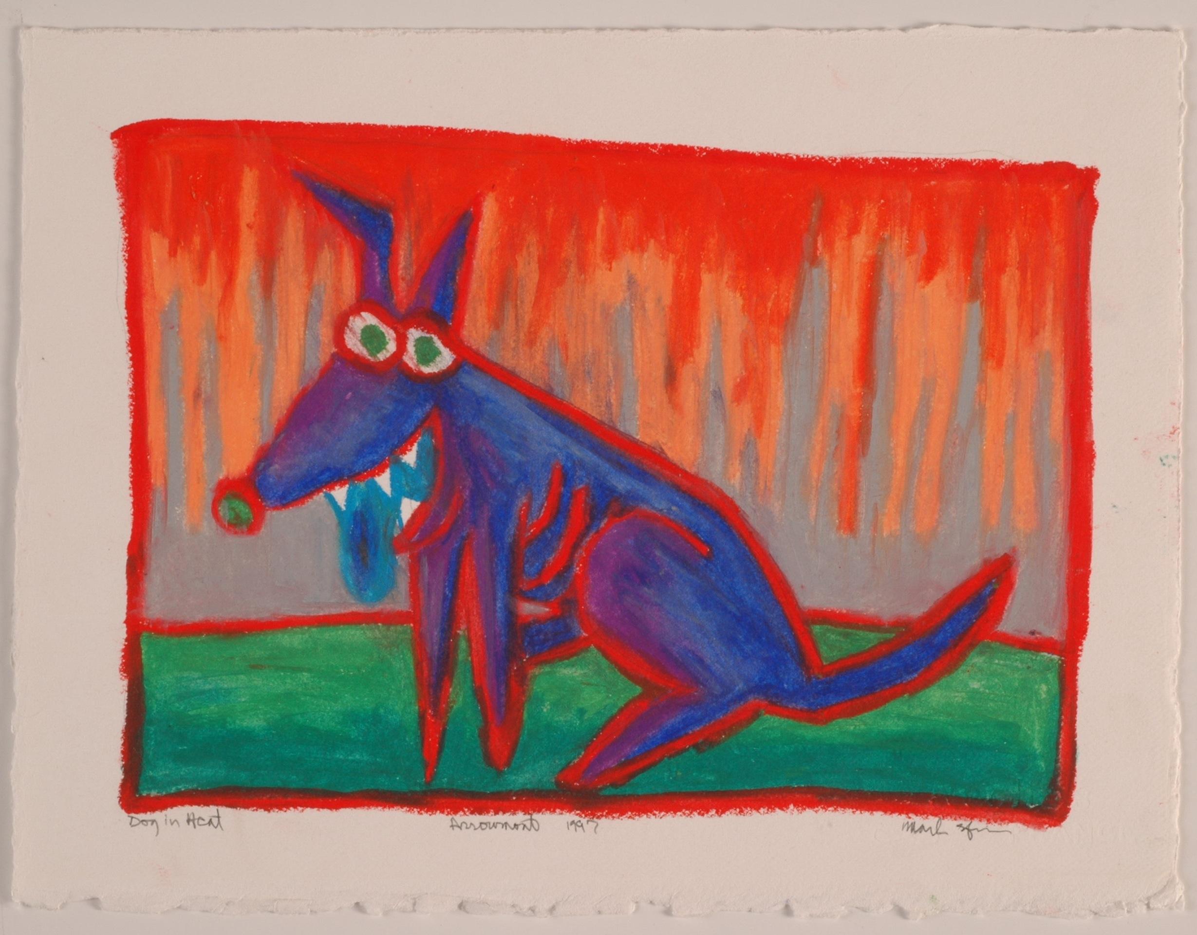 Dog in Heat- Arrowmont 1997, Oil Pastel