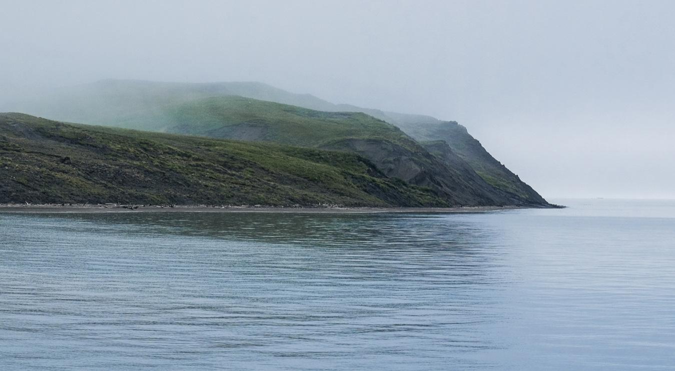 The coast of Qikiqtaruk, shrouded in fog - welcome to the vanishing island!