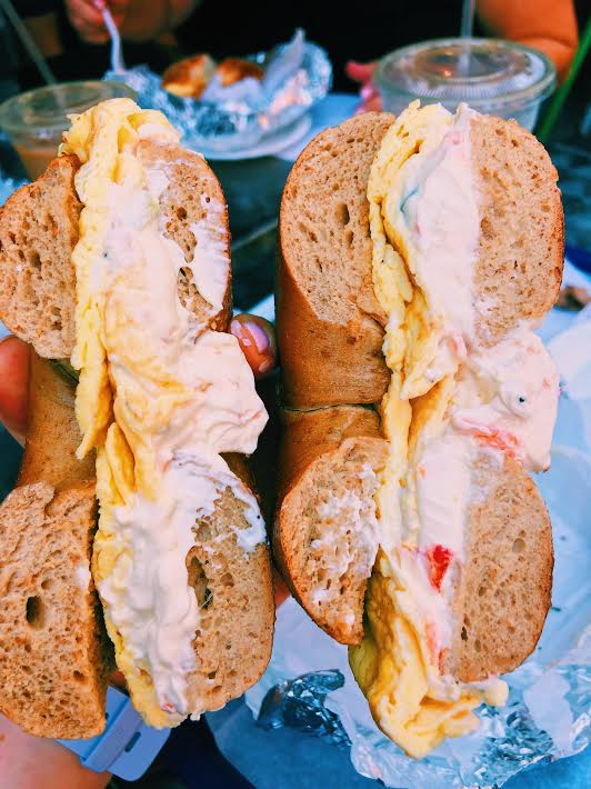 bagel, cream cheese, eggs…what a combo!