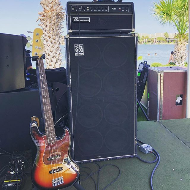 Couple pics from last weeks 4th of July celebrations! 🇺🇸🎸 #qscaudio #fenderstratocaster #marshalljcm900 #marshall4x12 #ampegsvtclassic #ampeg810 #yamahadrums #yamahamaplecustomabsolute #zildjiancymbals #gigwithaview #palmtreelife #probackline #backlinerental #m32 #concertproduction #lovemyjob