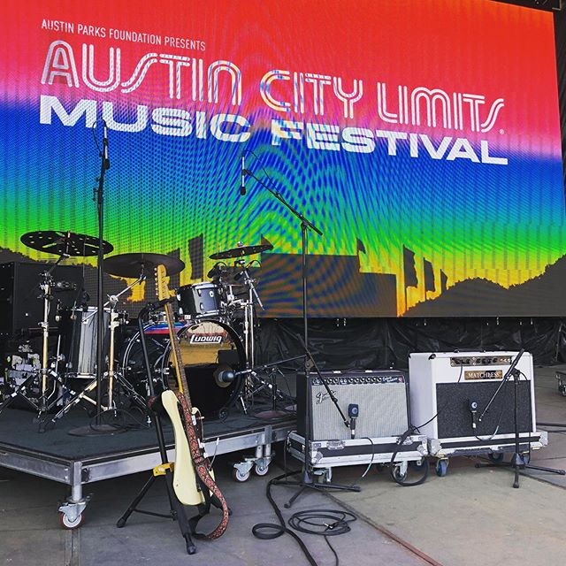 Setting up for day 3 @aclfestival at #tmobile stage!  #matchless #ludwig #fender #zildjian #aclfest #atxbackline