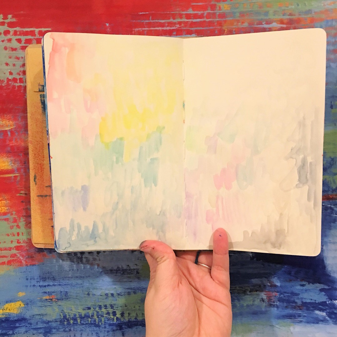 background from cleaning off waterbrush intPrima  watercolor confections