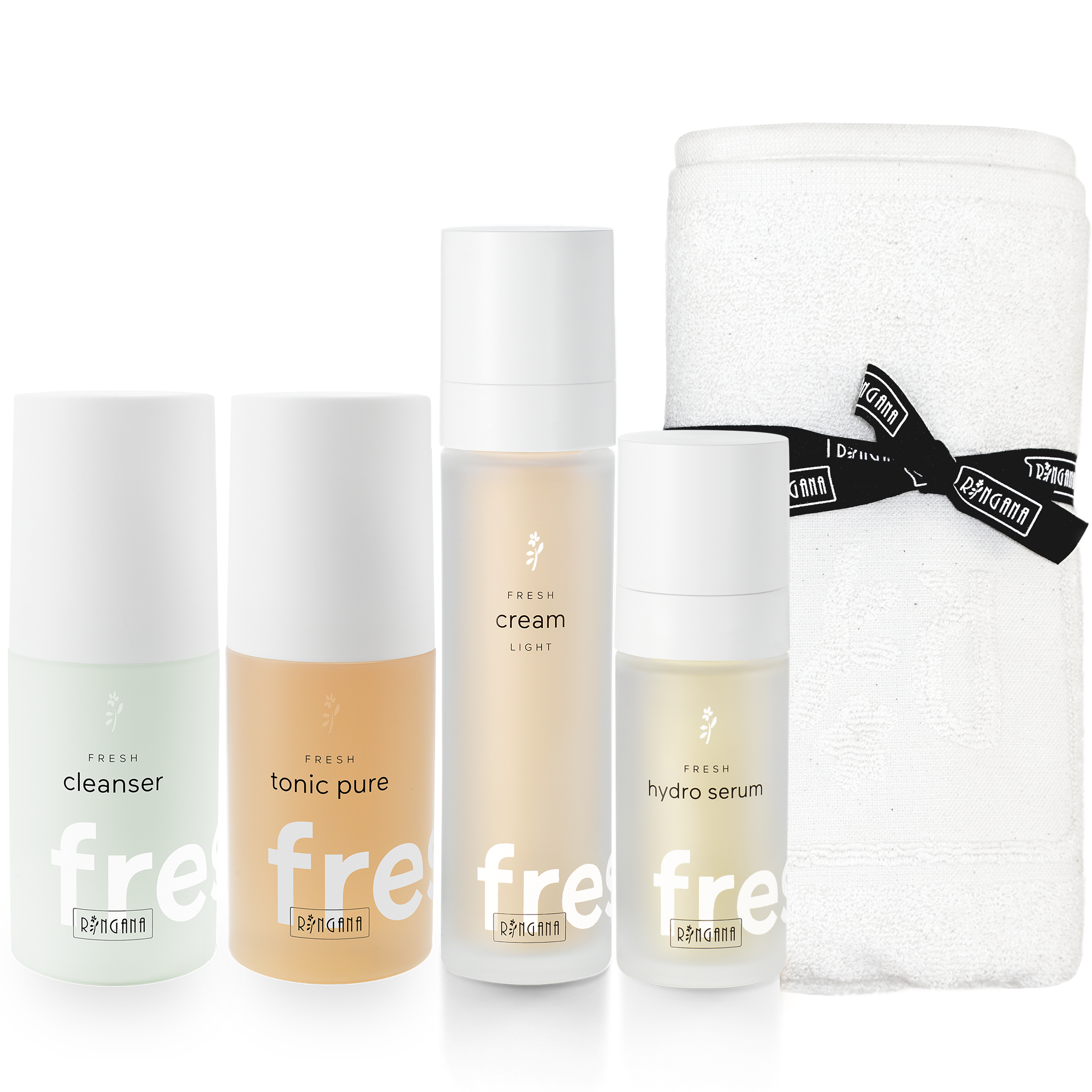 FRESH skin care set light - For pure well-being330 ml - € 119,70Your Fresh skin care set consists of two cleansing and two care products to suit your skin type and condition. The perfect basic care programme for daily beauty and wellbeing. For each care set, RINGANA will give you an organic cotton hand towel – the perfect Fresh gift for yourself or someone else.