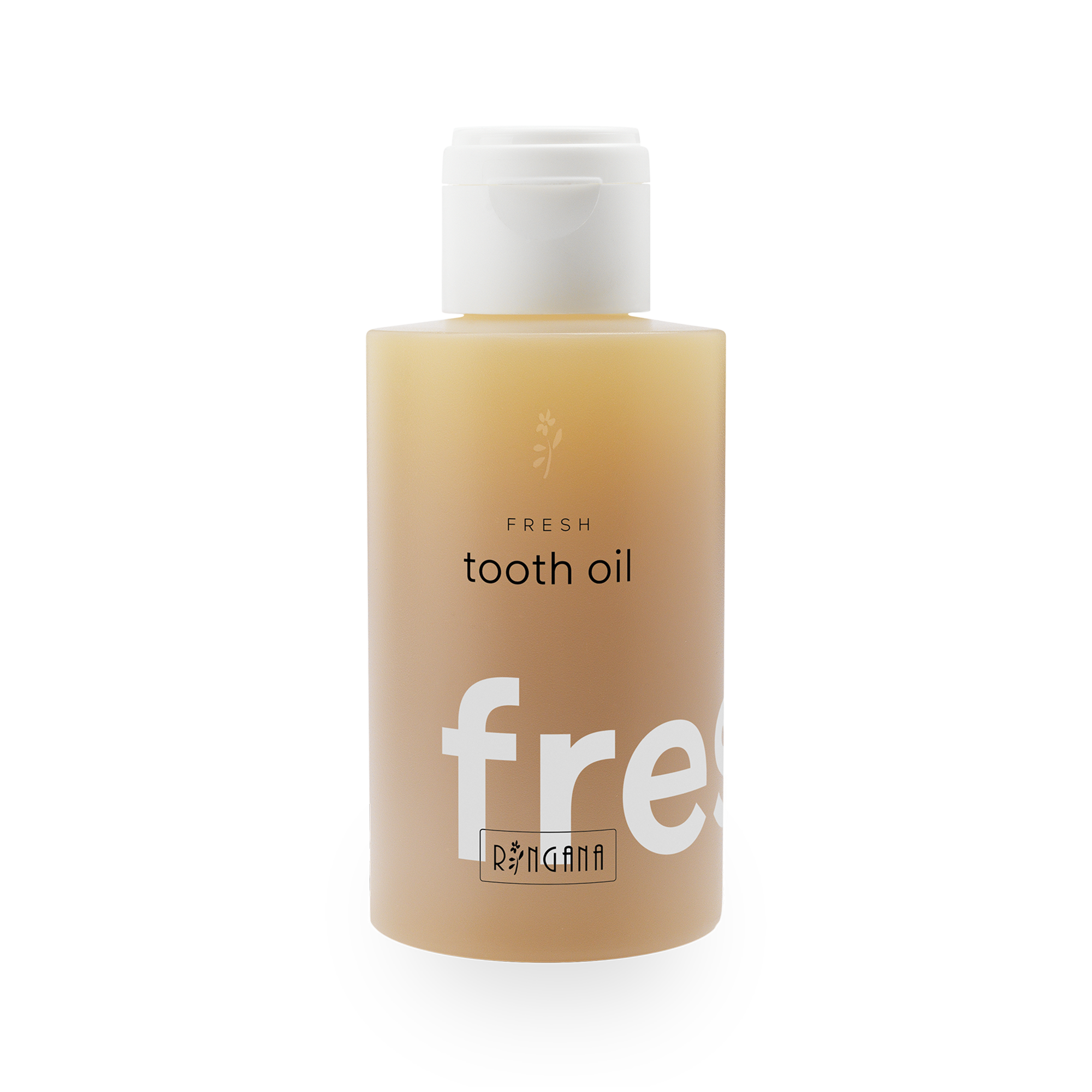 FRESH tooth oil - Teeth and gums125 ml - € 12,60Effective oil-based tooth care: our FRESH tooth oil derives from the tradition of oil-drawing. This involves moving some oil around in the mouth and then spitting it out. The point of doing this is that the tooth oil binds bacteria in the oral cavity. RINGANA goes one step further, offering a tooth oil that replaces toothpaste.