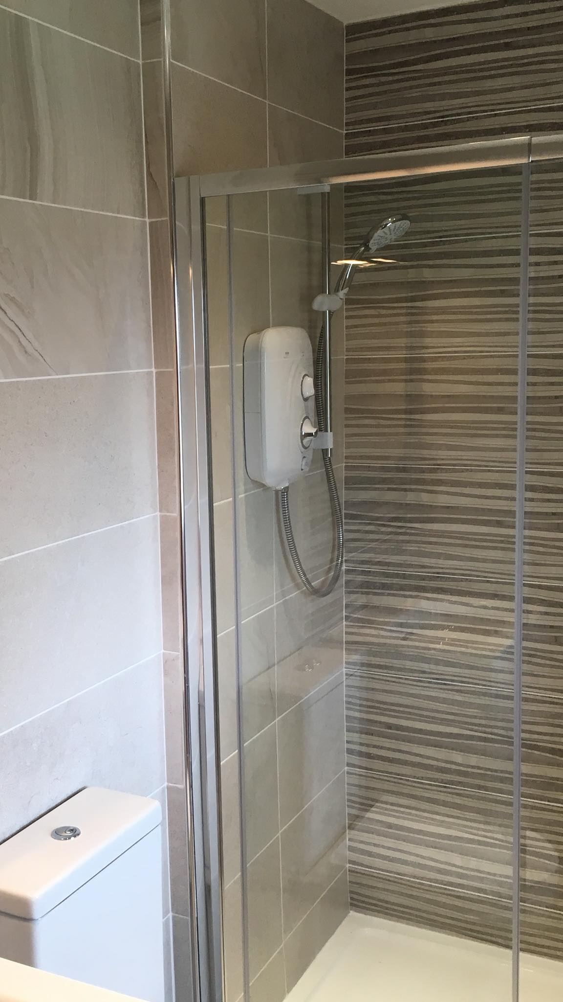 Bathroom renovation - shower & tiled wall