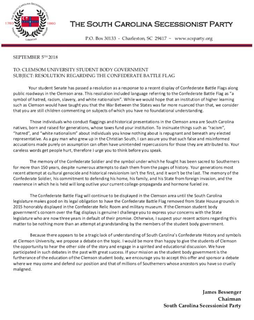 Statement from the SC Secessionist Party to CUSG Senate, Source: http://scsecessionistparty.blogspot.com/