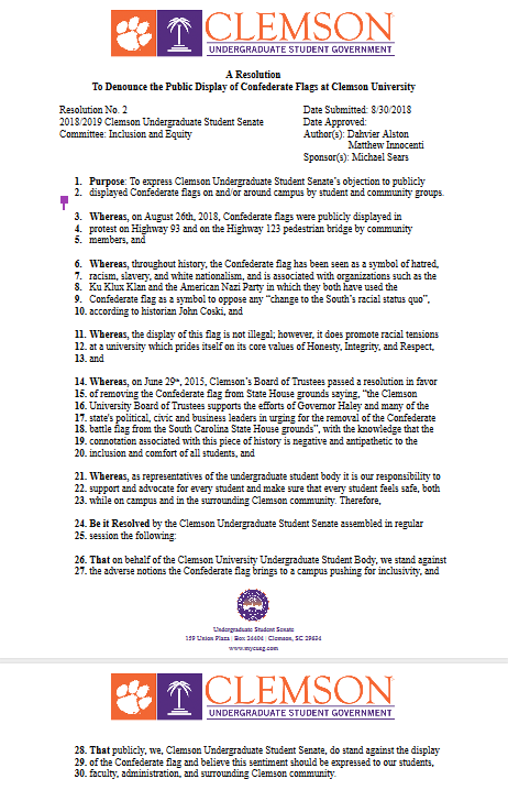 """Senate Resolution 02 """"A Resolution To Denounce the Public Display of Confederate Flags at Clemson University"""" Authored by Dahvier Alston & Matthew Innocenti"""