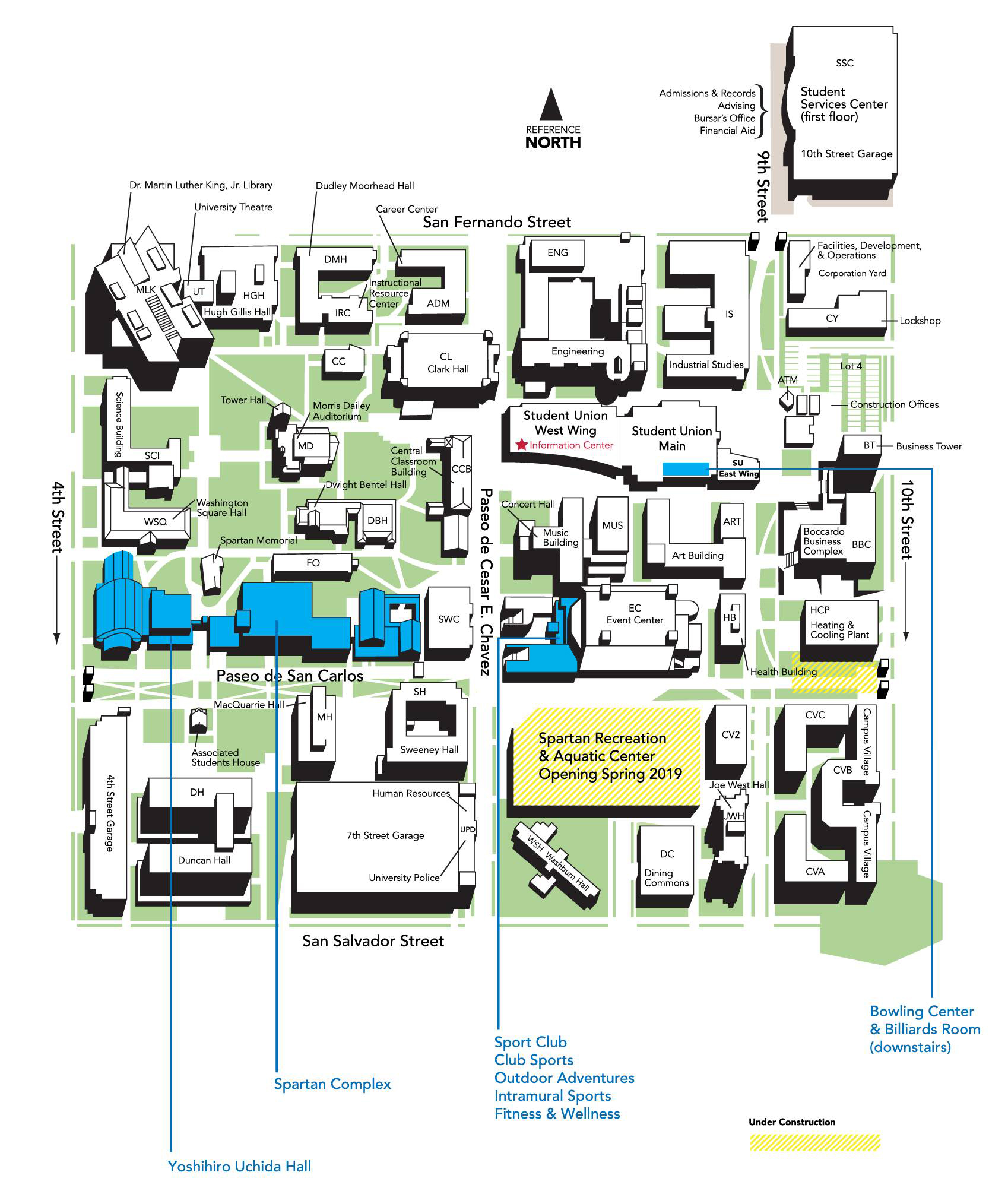 san jose state university map campus Maps And Parking Spartan Recreation san jose state university map campus