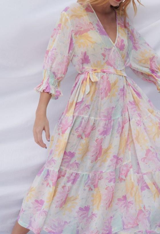 UO Donatella Crinkle Tiered Ruffle Wrap Dress