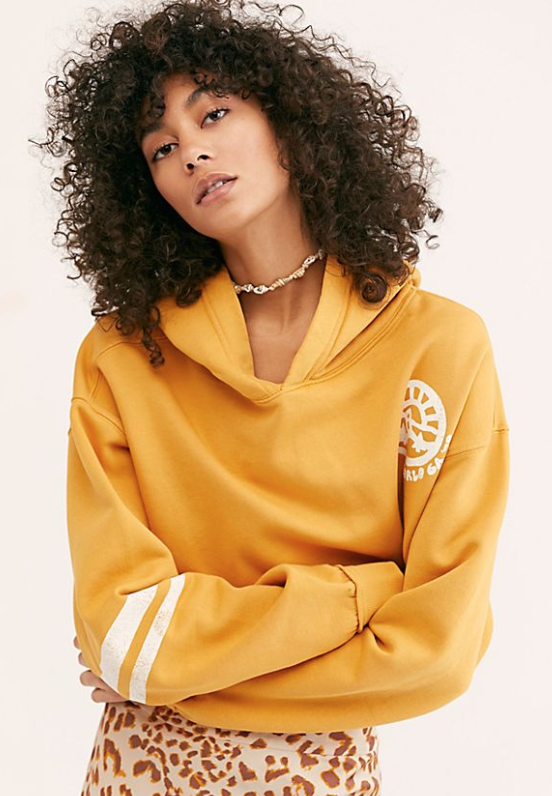 Free People Yellow Track Sweatshirt