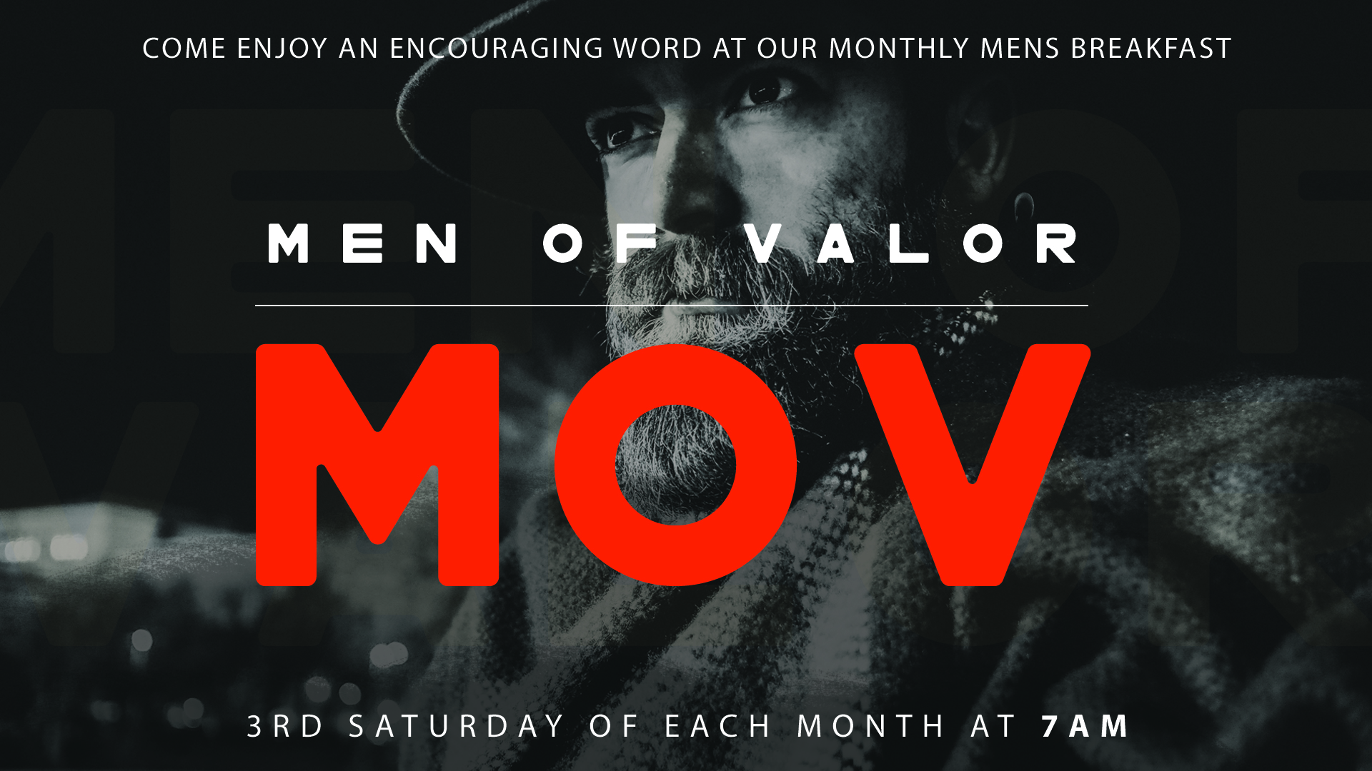 men of valor - We have a men's breakfast every third Saturday at 7AM! Join us for an encouraging message and good food!
