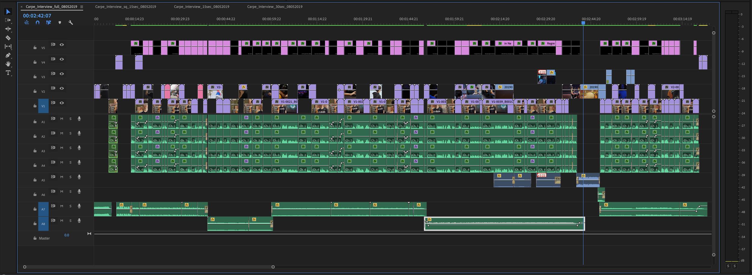 Premiere Pro timeline on Mac