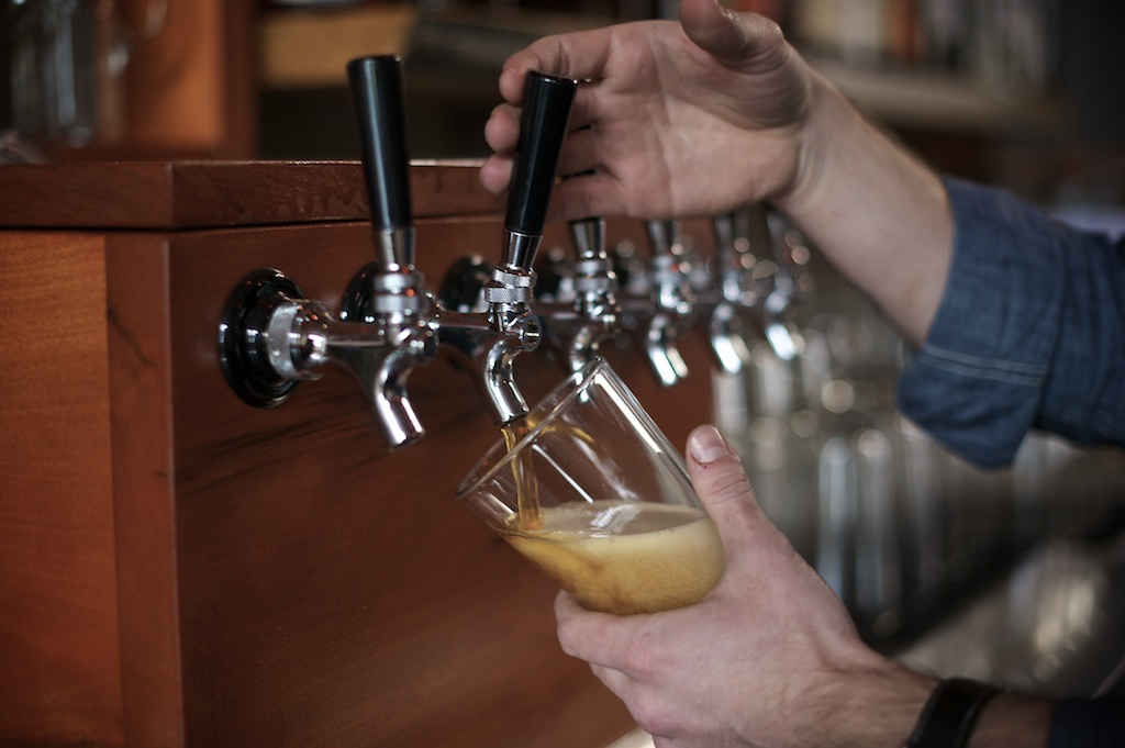 Beer being poured from tap