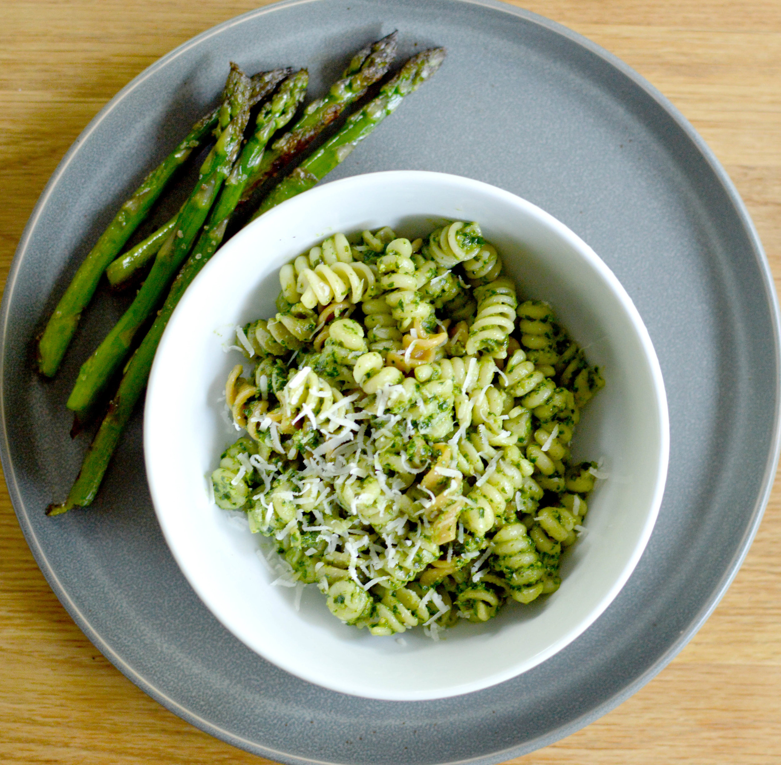 Kale and Basil Pesto pasta with pan fried asparagus