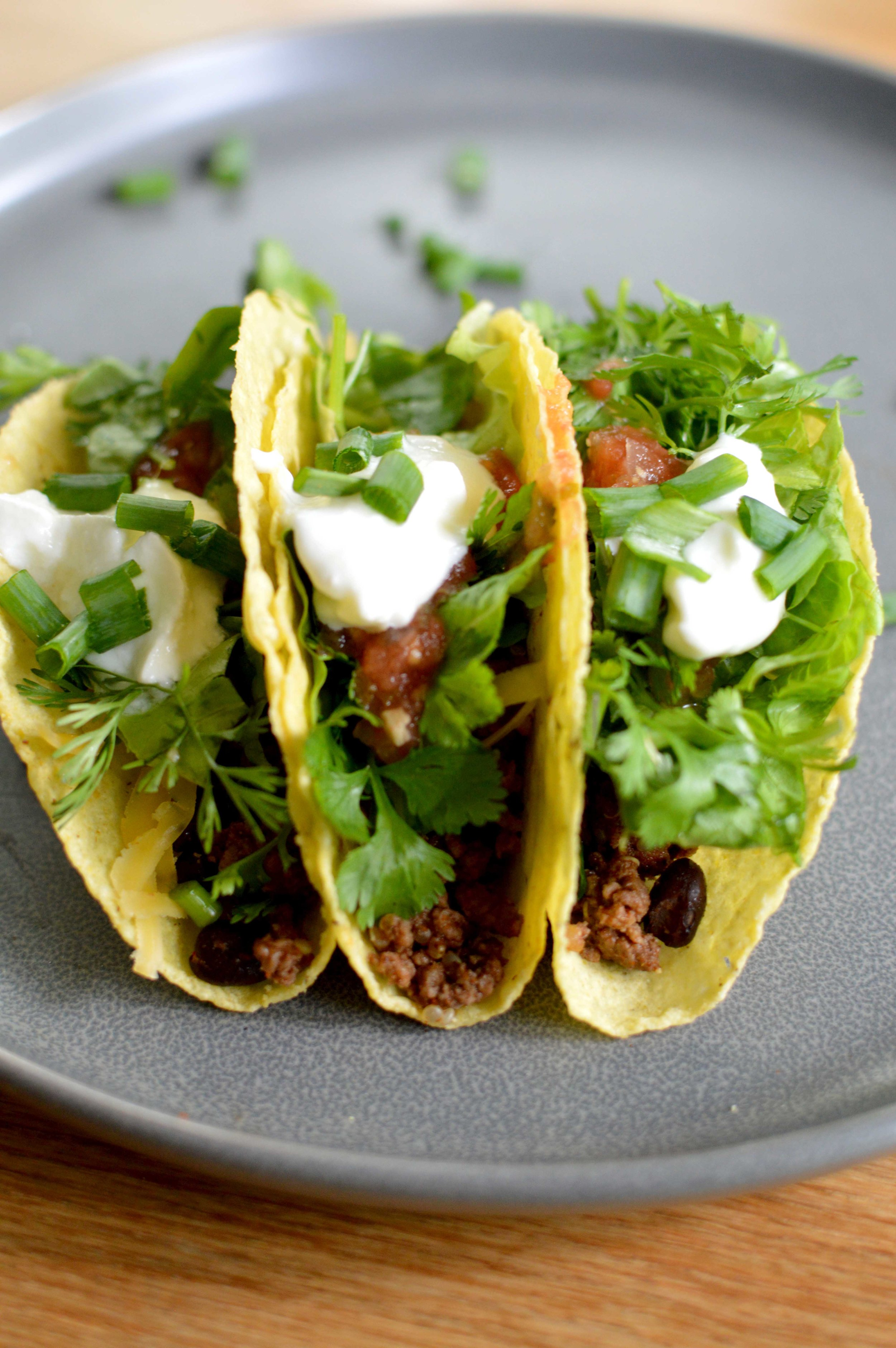 Tacos with beef, black beans, cilantro, green onions, home canned salsa, lettuce, and plain yogurt