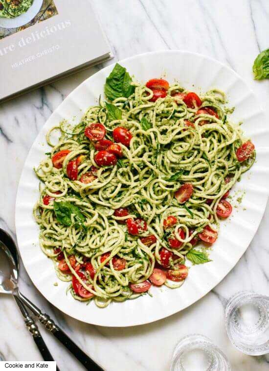 Photo courtesy of cookie and kate- Heather's zucchini Noodles with basil-pumpkin seed pesto