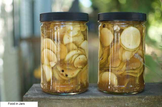 Photo Courtesy of food in jars- Preserves #3- Slightly Sweet Zucchini Fridge Pickles