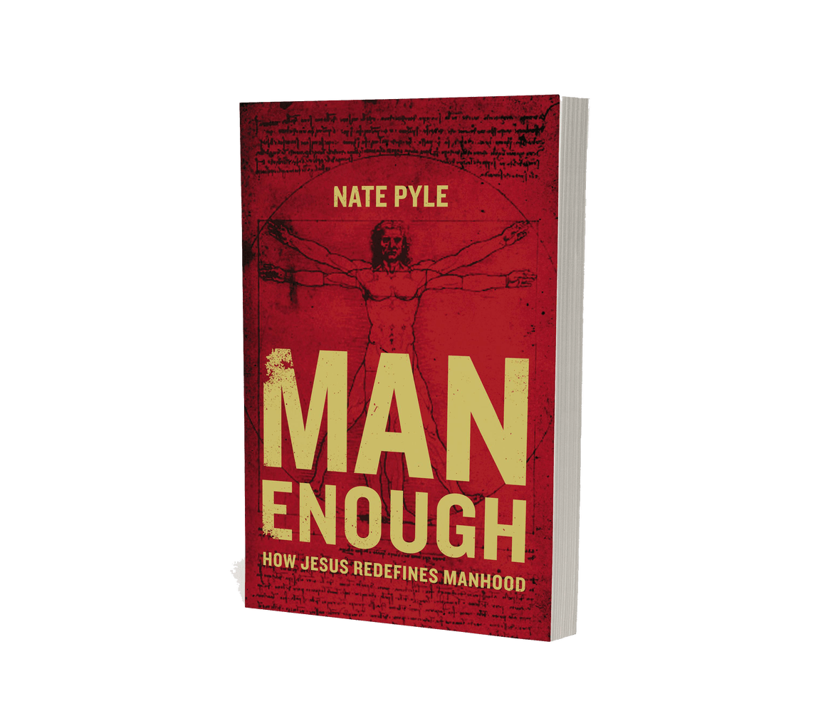 """man enough - Man Enough challenges the idea that there is one way to be a man. The masculinity that pervades our church and culture often demands that men conform to a macho ideal, leaving many men feeling ashamed that they're not living up to God's plan for them. Nate uses his own story of not feeling """"man enough"""", as well as sociological and historical reflections, to help men see that manhood isn't about what you do, but who you are. It's not about the size of your paycheck, your athletic ability, or your competitive spirit. You don't have to fit any masculine stereotype to be a real man."""