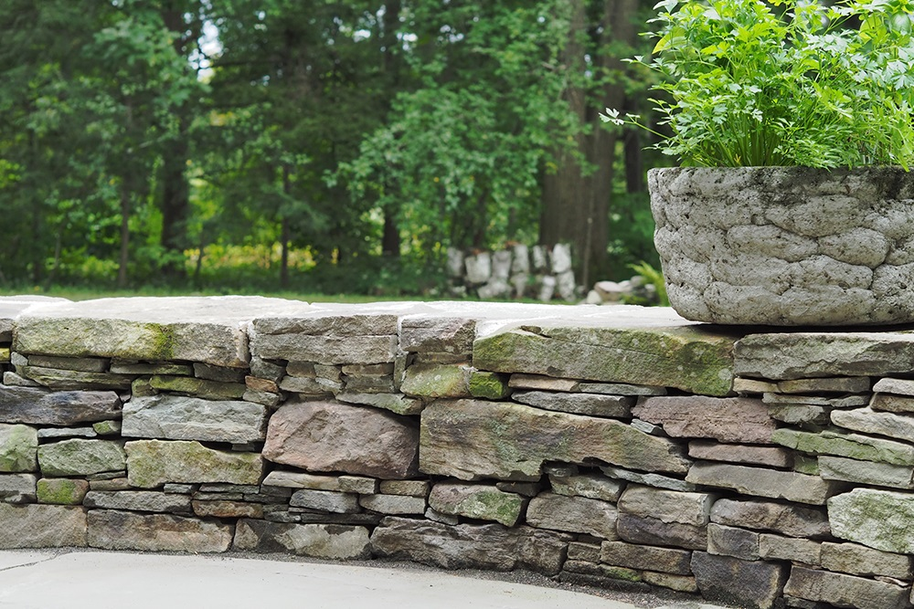 Landscape installation of artistic stonework in Vermont