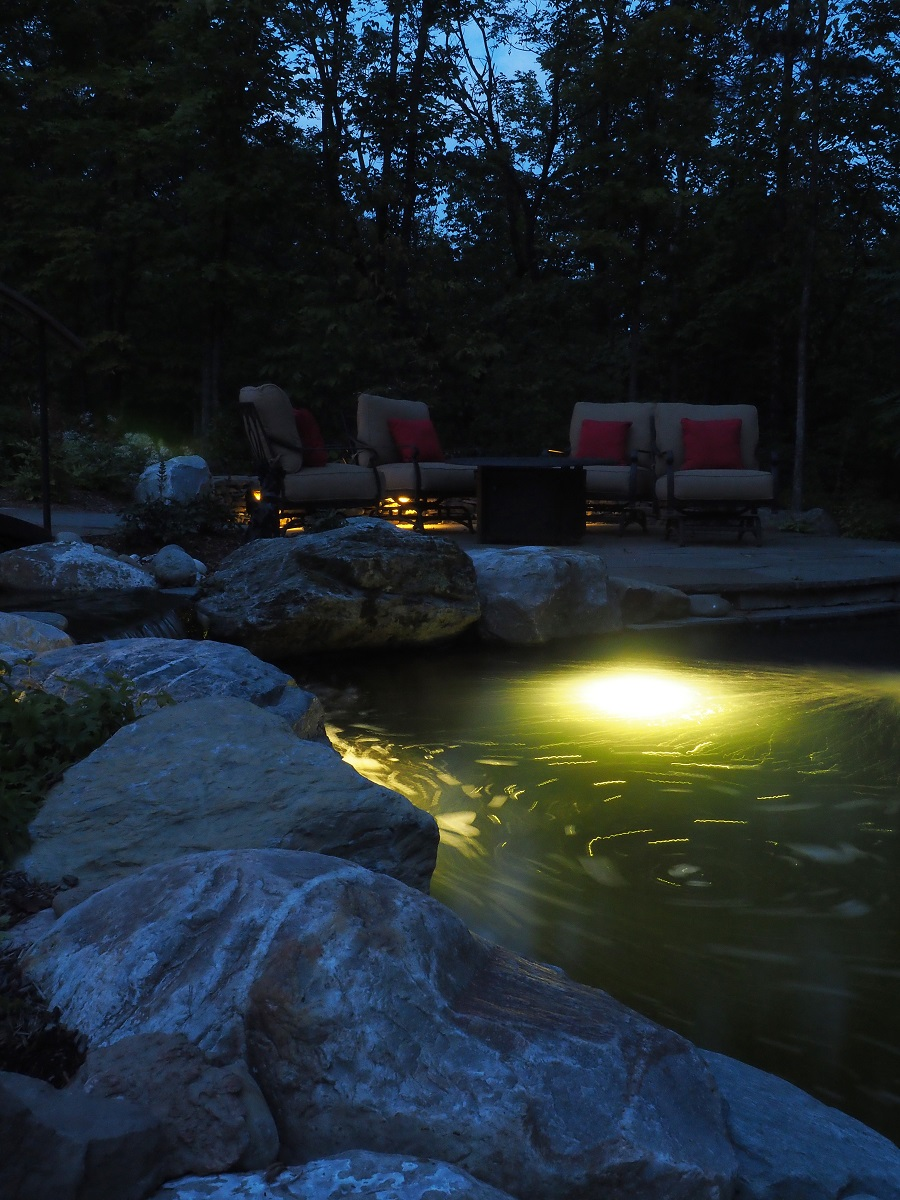 Water features and landscape lighting in Vermont