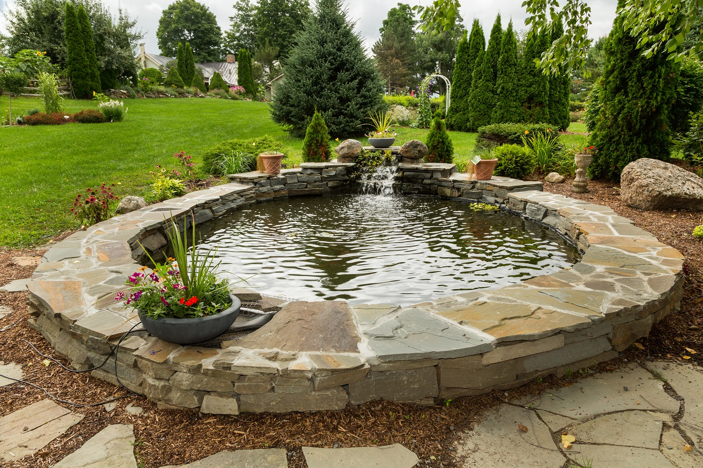 Retaining wall and water features in Colchester, Vermont