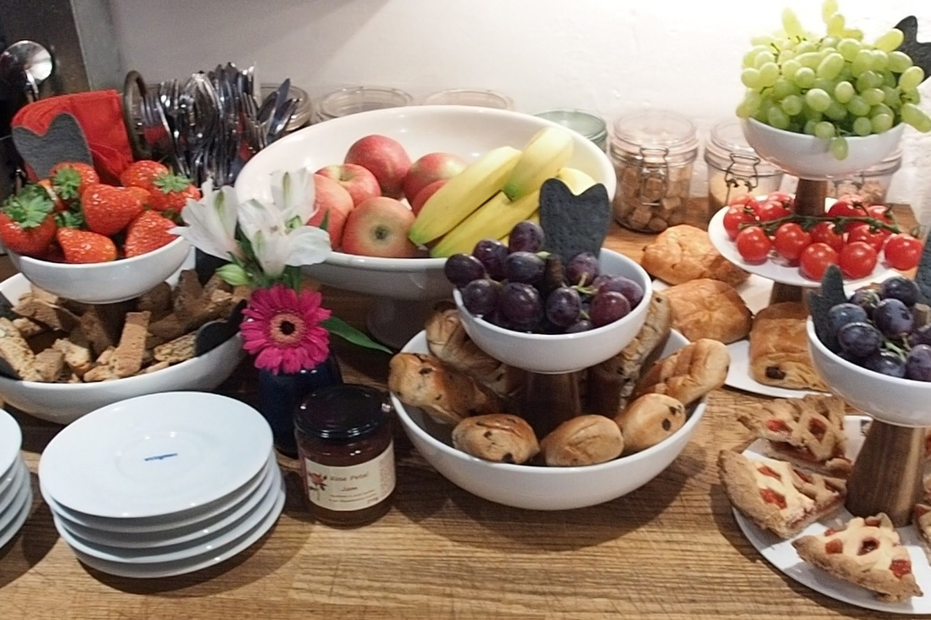 Artisan Breakfast baskets – to include fresh juices, various milks, pastries, local butter, conserves, breads for toast & Italian Biscotti