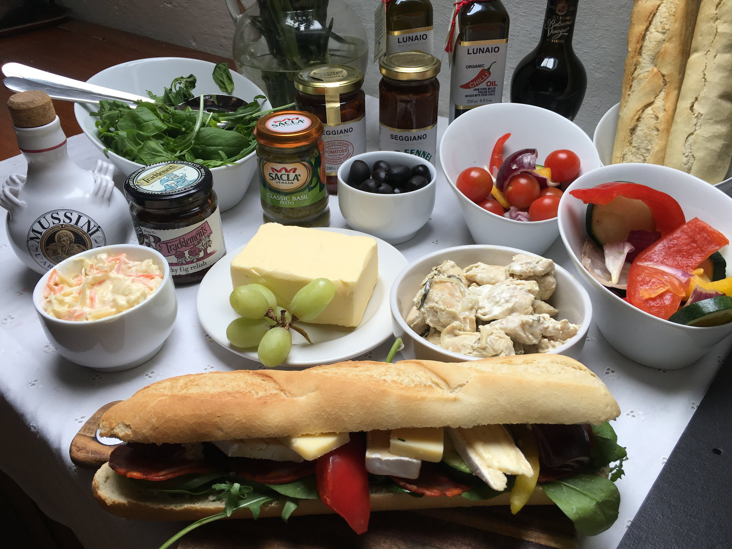 Saturday lunch time  Make your own panini – commercial panini maker available, plus all you need for a scrumptious lunch – homemade roast veg, humus, cheese, chorizo, ham, artichoke hearts, onion marmalade.