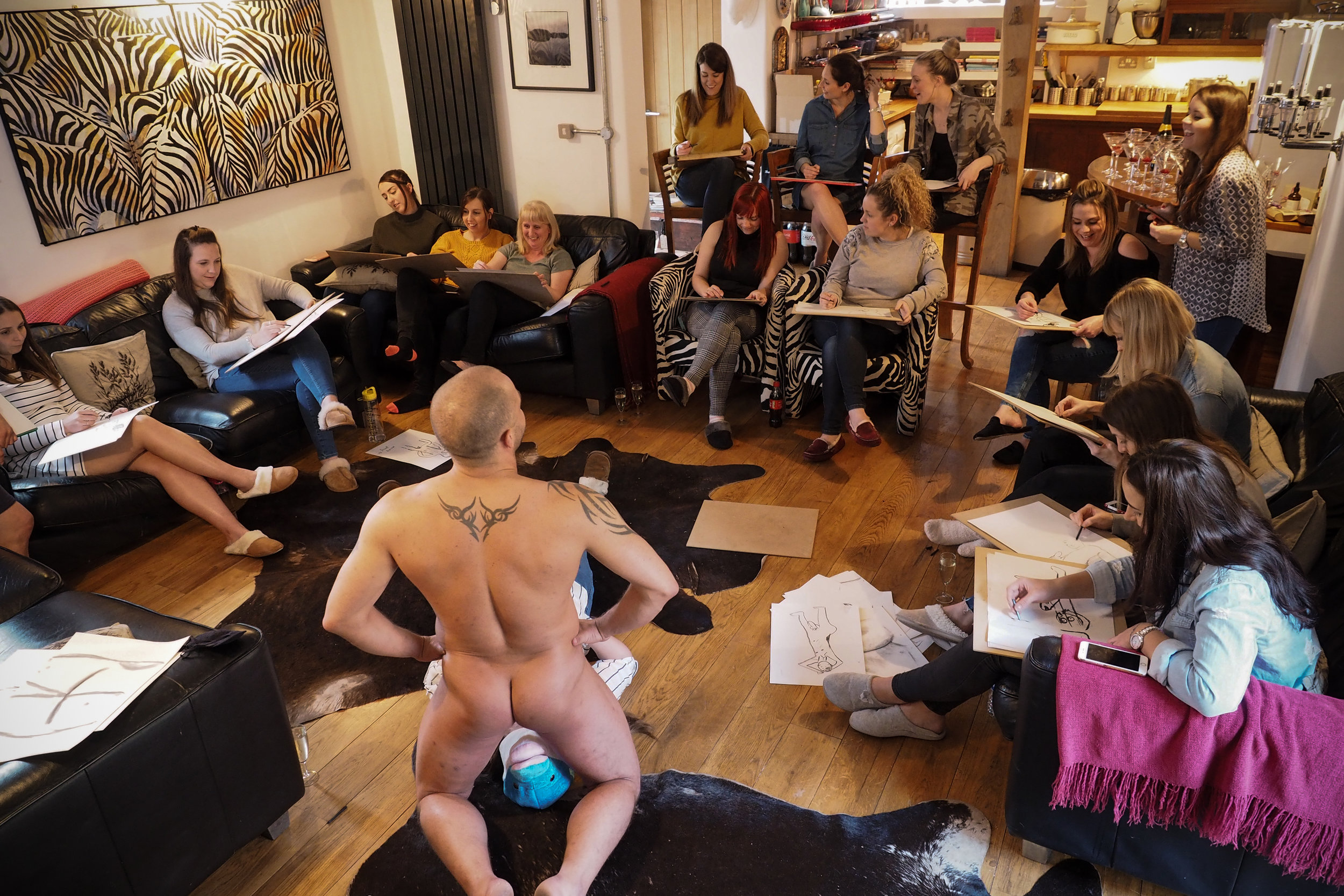 Copy of Life drawing art Class  Life drawing class with a butt naked male model.