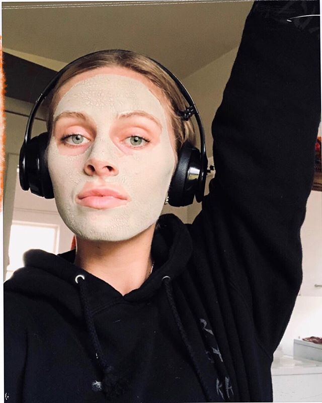 face mask on that looks like guacamole and playlist and sequencing for you babes this week