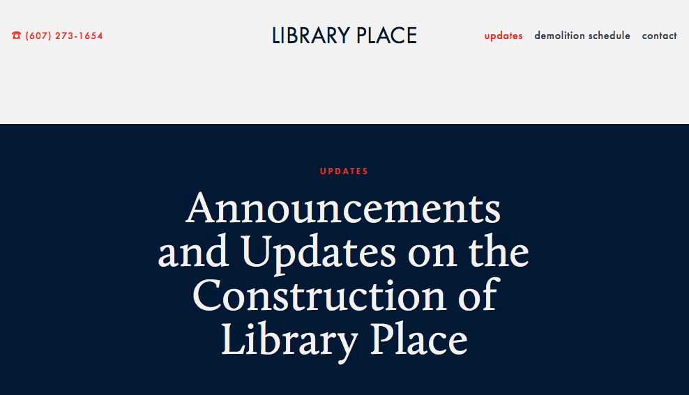 Library Place Construction -