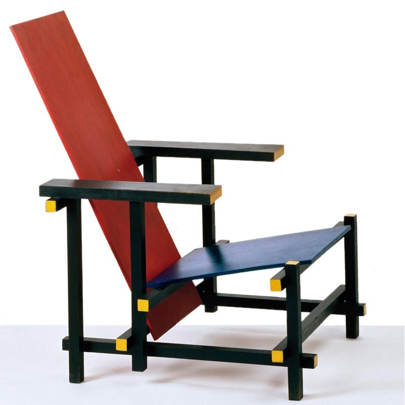 Gerrit Rietveld Armchair Red and Blue.