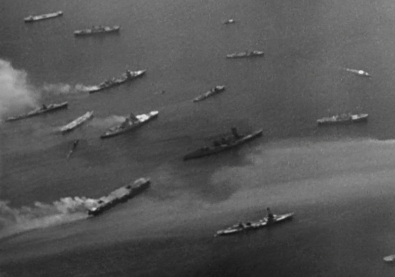 Operation Crossroads target fleet after the first detonation. The men left behind would have been toast.