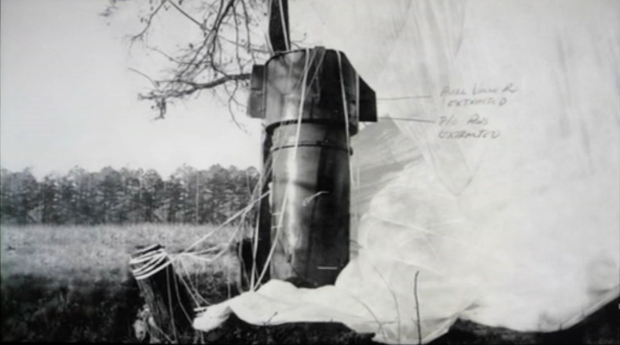 Mark 39 thermonuclear weapon hanging from a tree in a field in Goldsboro, North Carolina.